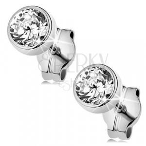 White 9K gold earrings - round glittery zircon in mount, 4 mm
