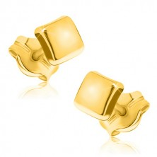375 gold earrings - simple square with glossy surface