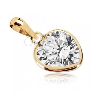 Yellow 375 gold pendant - heart contour, symmetric zircon heart