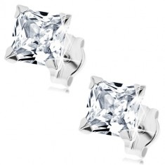 White 9K gold earrings - zircon square of clear hue, 5 mm