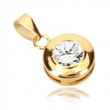 Yellow 9K gold pendant - circle with notches, glittery round zircon