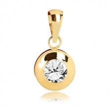 Yellow 9K gold pendant - circle with notches, glittery round zircon