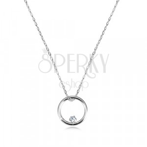 Diamond necklace of white 375 gold - narrow glossy circle and brilliant
