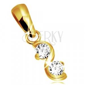 375 gold pendant - glossy wavy line, two round glittery zircons