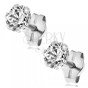 White 9K gold earrings - clear glittery zircon in mount, 4 mm