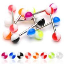 Multicolour quarters tongue piercing