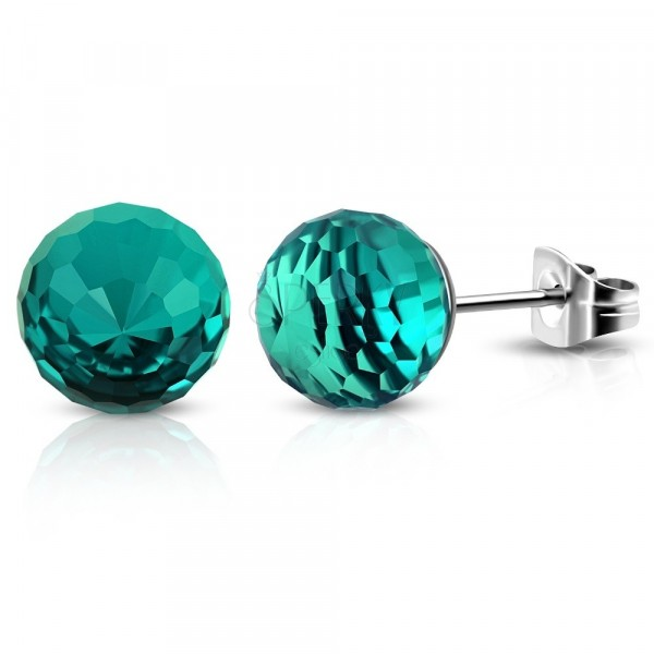 Stainless steel earrings - emerald-green ball with cut fields