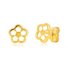Yellow 585 gold earrings - flower contour with carved petals, studs
