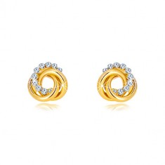 14K gold yellow earrings - two ringlets and zircon circle, studs