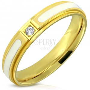 Steel ring – shiny gold surface, white glaze, zircon, 4 mm