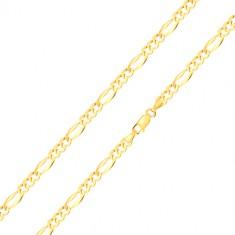 585 gold bracelet – three oval eyelets, elongated eyelet with widened edges, 180 mm