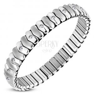 Extensible stainless steel bracelet - matt and shiny heart links, zircons