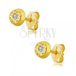 14K yellow gold earrings - sun, shiny zircon in the middle