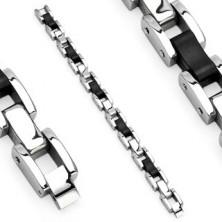 Surgical steel bracelet - black caoutchouc links