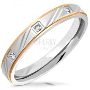 Bicolour steel ring - matt strip with cuts, bevelled edges, zircons, 3,5 mm