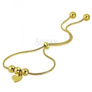 Steel bracelet of gold colour - asymmetrical heart, balls, snakeskin motif
