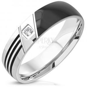 316L steel ring - black half, three cuts, clear round zircon, 6 mm