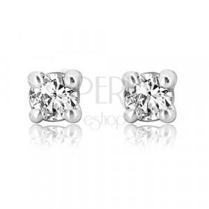 585 white gold stud earrings - round shiny zircon, mount, 2 mm