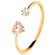 Ring made of yellow 375 gold - shiny shoulders ending in heart contour and clear zircon