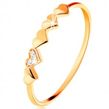 Ring made of 9K yellow gold - small sparkly hearts, clear zircons