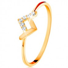 Sparkly ring made of yellow 9K gold - shiny and zircon bent lines