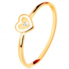 Ring made of yellow 9K gold - heart with white border and clear zircon