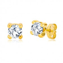 Yellow 375 gold earrings - round zircon of clear colour in square mount, 4 mm