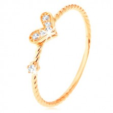 375 gold ring, spirally twisted shoulders, sparkly heart, zircon