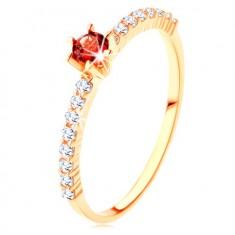 375 gold ring - clear zircon lines, raised round red garnet