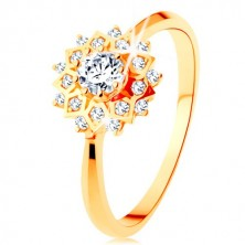 375 gold ring - lustrous sun decorated with round clear zircons