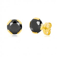 Yellow 375 gold earrings - cut round zircon of black colour, 6 mm