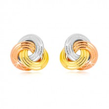 14K combined gold earrings - three-coloured knot, wider knurl ringlets