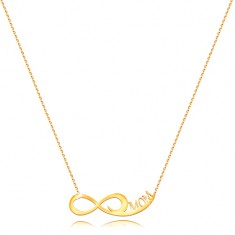 Yellow 585 gold necklace - fine chain, infinity symbol, inscription MOM