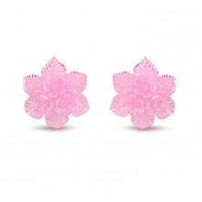 Steel earrings - resin flower of pink colour with rainbow reflections