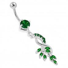 Belly steel piercing - bunch of grapes, hanging eight, zircons of emerald green colour zirkóny