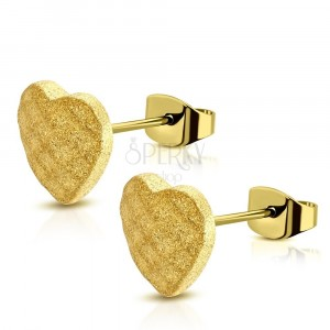 Steel earrings of gold colour - symmetric sand heart, grid, studs