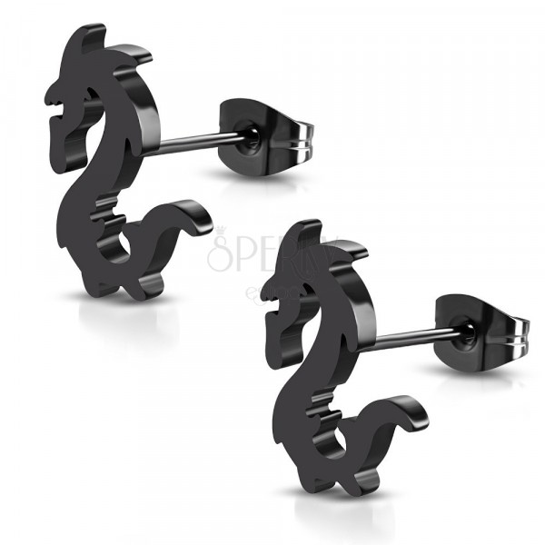Steel earrings in black colour - glossy chinese dragon, studs
