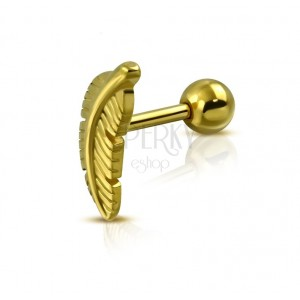Stainless steel tragus piercing - bird feather, gold colour