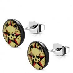Steel earrings - black acrylic circle, skull and navy star