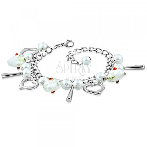 Bracelet of silver colour - heart contours, hearts with flowers, synthetic pearls