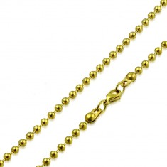 Steel chain of gold colour - balls seperated with short prongs, 2 mm