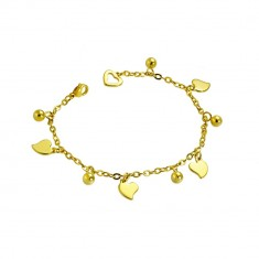Stainless steel chain in gold hue - asymmetric hearts and balls
