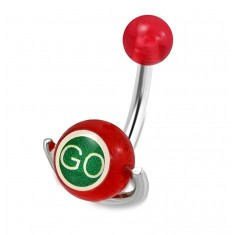 """Steel belly piercing - red ball, roller with inscriptions """"GO"""" and """"STOP"""""""
