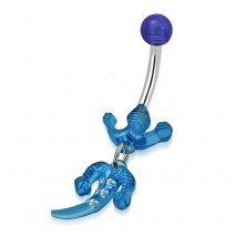 Belly piercing, stainless steel and acryl - lizard of blue colour, clear zircons