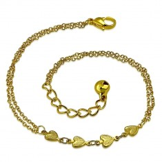Stainless steel chain of gold colour - heart row, jingle bell
