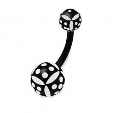 Belly piercing made of acryl - balls, black-white die