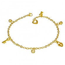Steel chain in gold hue - beads, lock and key