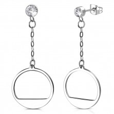 Steel earrings - glittery zircon in mount, circle with a notch strung on chain