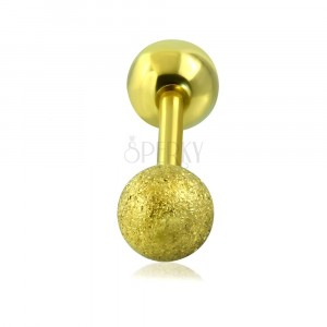 Steel tragus piercing - smooth and sanding ball of gold colour, 16 mm