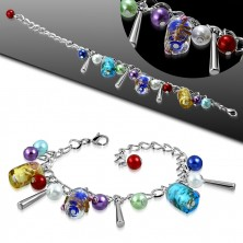 Chain bracelet and pendants - artificial pearls, coloure beads with roses